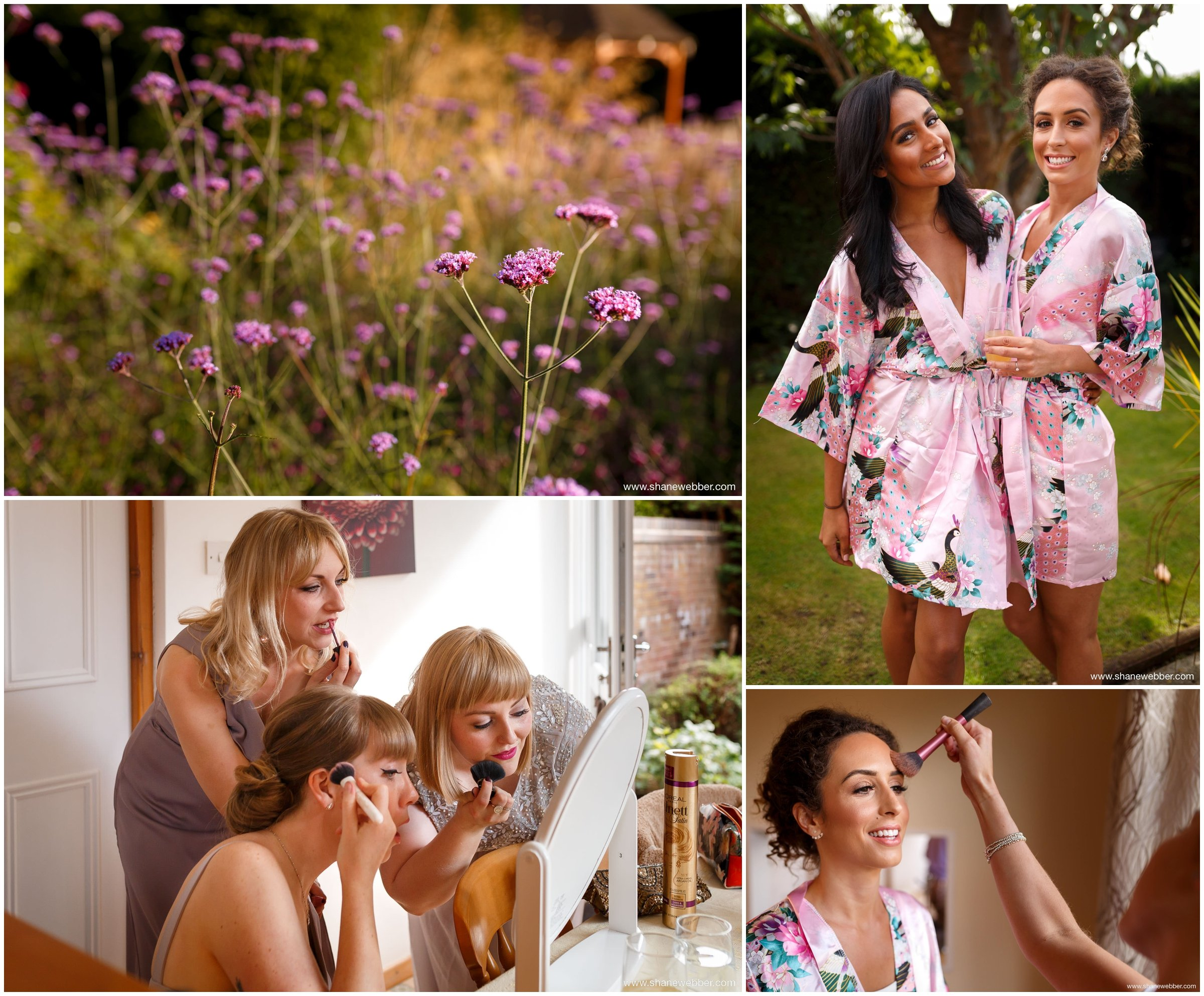 Bride and bridesmaids wearing matching silk dressing gowns