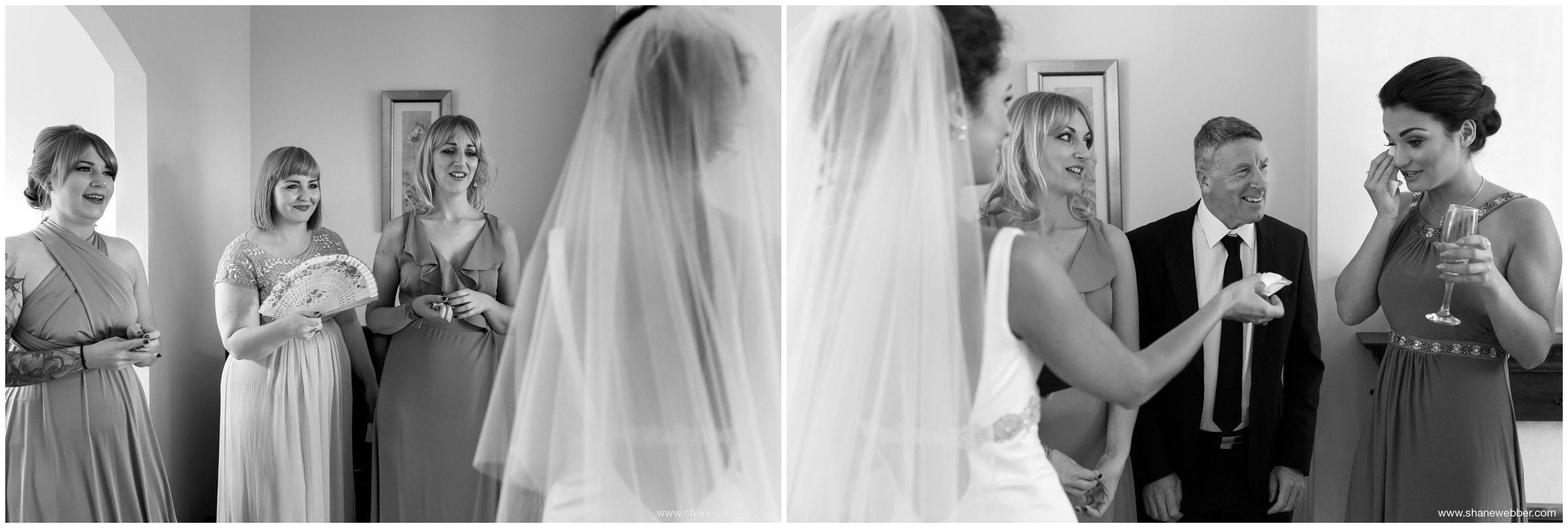 Black and white photo of bride
