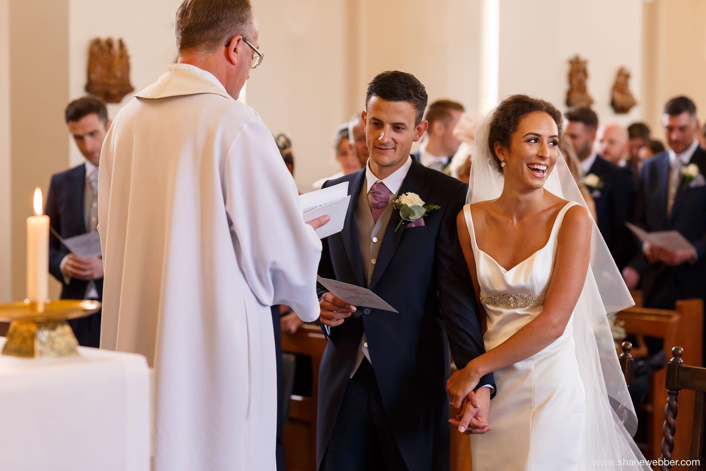 giggles during wedding photos